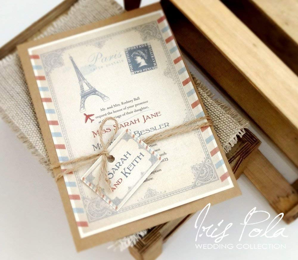 Set of 25 Invitations with RSVP cards, Destination Wedding, Paris Style, Post Card, RSVP, Red & Blue, Retro, Wedding Invitation Set, Burlap Rope and Tag