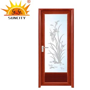 Interior Aluminum Glass Bathroom Doors,Wholesale Simple Design Wood Grain Transfer Composite Shutter Door