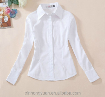 29903139d Blank Plain Long Sleeve Polo Collar Girl School Unform Button Shirts ...