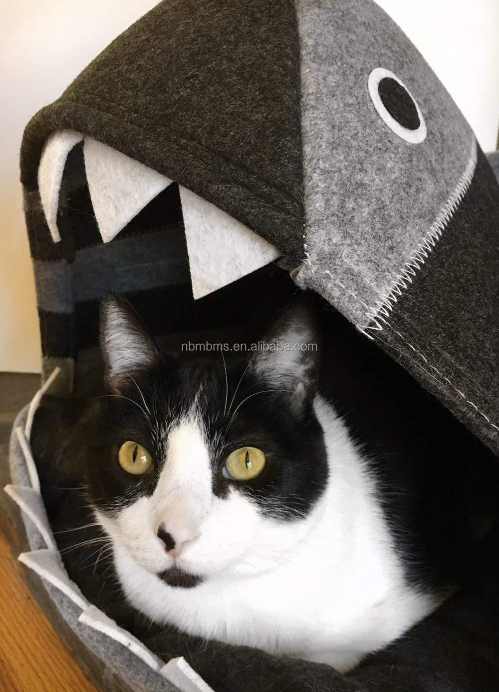 QJMAX Shark Cat Bed Cozy Comfy Cave For Pets