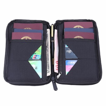 Latest OEM fashion black Nylon fabric travel passport folder zipper closure pen loop card slot fabric wallet