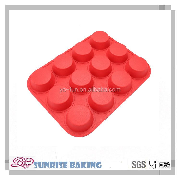 High quality 12 cups silicone muffin cups/cupcake molds,round silicone soup mold