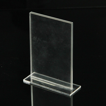 High clear durable custom acrylic poster display racks plastic table top sign stand manufacturers