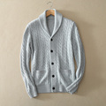 Men s turn down collar thick cardigan sweater with long sleeves solid color 100 cashmere knitted