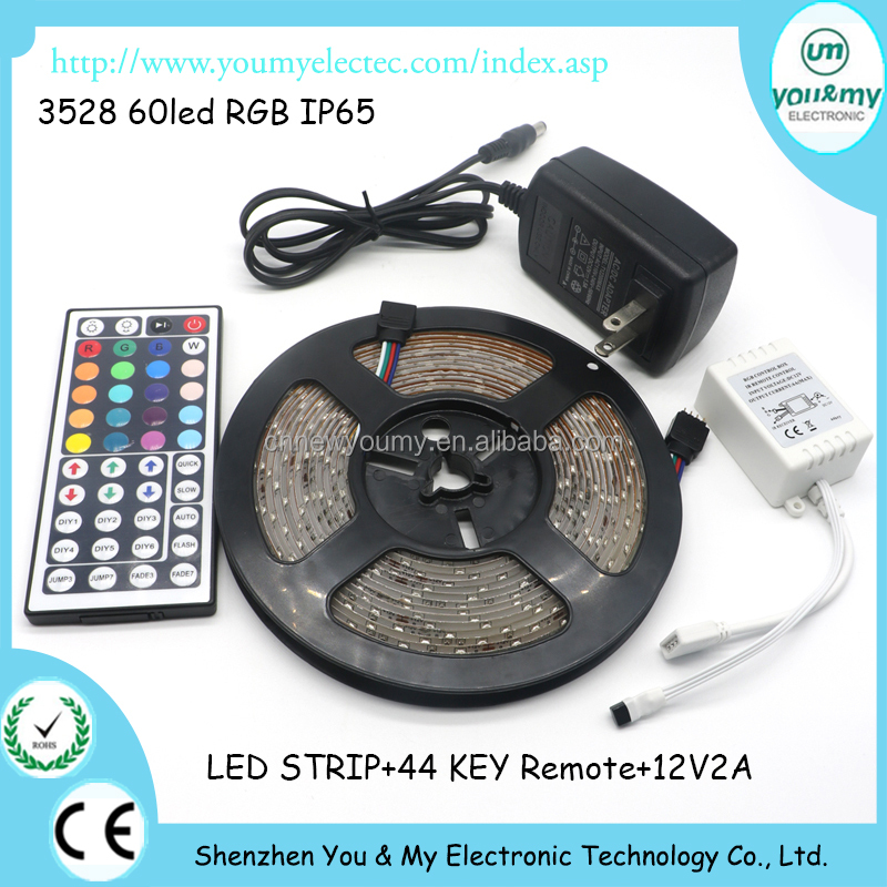 Flexible RGB LED Strip 3528 RGB Waterproof 60leds/m 44keys IR Remote Controller 12V 2A Power Adapter