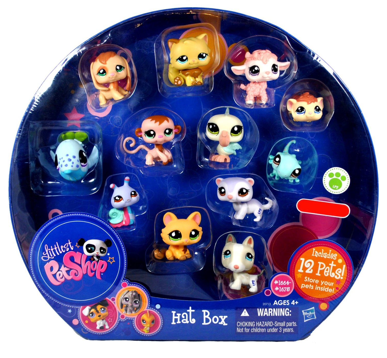 Littlest Pet Shop Exclusive Collectible 12 Pack Bobble Head Pets Figure Set - Hat Box with Brown Beagle Puppy (#1664), White Bull Terrier Puppy (#1665), White Lilac Ferret (#1666), Green Gecko (#1667), Brown Guinea Pig (#1668), Orange Kitty Cat (#1669), Pink Baby Lamb (#1670), Brown Baby Monkey