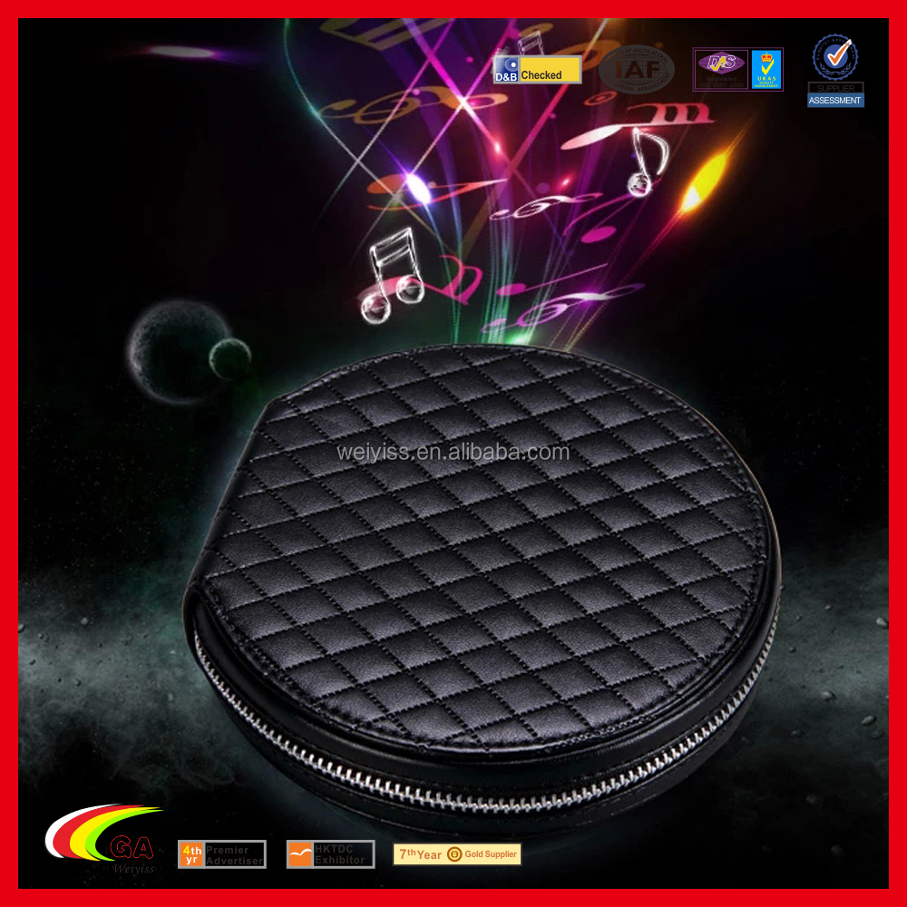 2018 New Blank Customized Fancy CD DVD Cases & Bags, Fashion PU Leather Round CD Holder