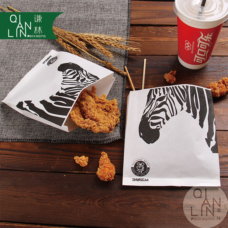 New product custom zebra Eco-friendly fried chicken and snacks kraft paper bag with logo print
