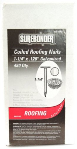 "Surebonder, 900-114G 1-1/4"" Galvanized Roofing Nails - 4 coil pack"