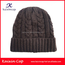 Custom fold up Brown color Beanie Hat chinese knitting