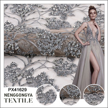 Wholesale floral 3d heavy mesh tulle embroidery bling silver pearls sequined beaded lace fabric