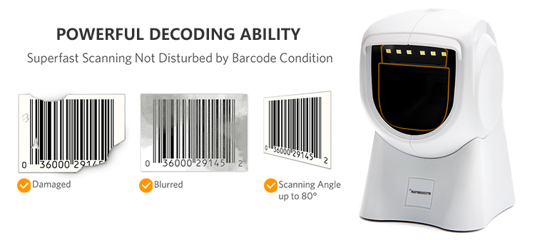 1500times/s high speed desk handsfree omni directional 2D barcode qr code scanner