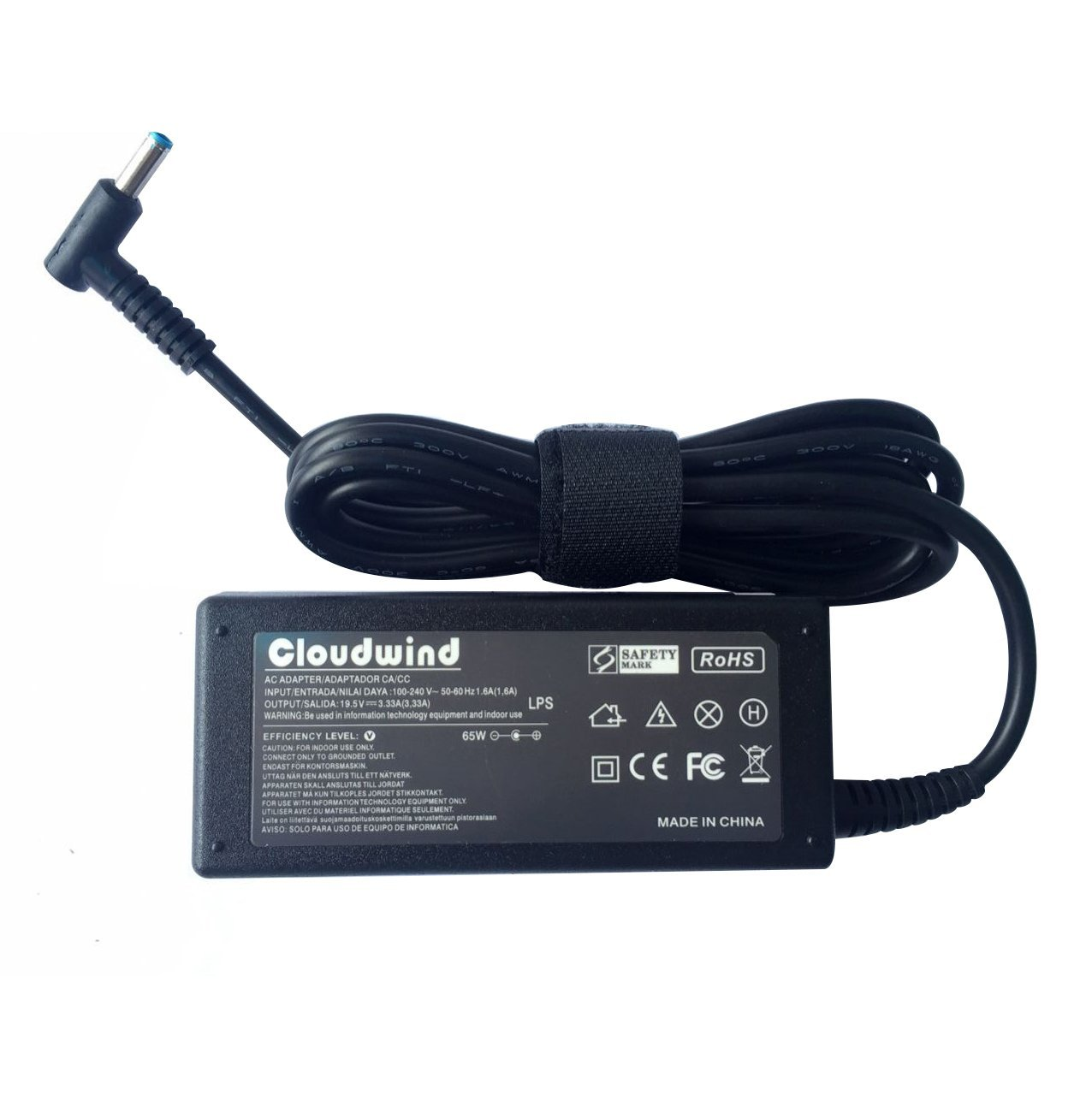 Cloudwind 19.5V 3.33A 65W Replacement AC Adapter HP ENVY 14-k001TX 14-k002TX 14-k040TX 14-k128TX S14-k129TX 14-k134TX 14-u001TX Notebook.Laptop AC Adapter Charger Power Cord.