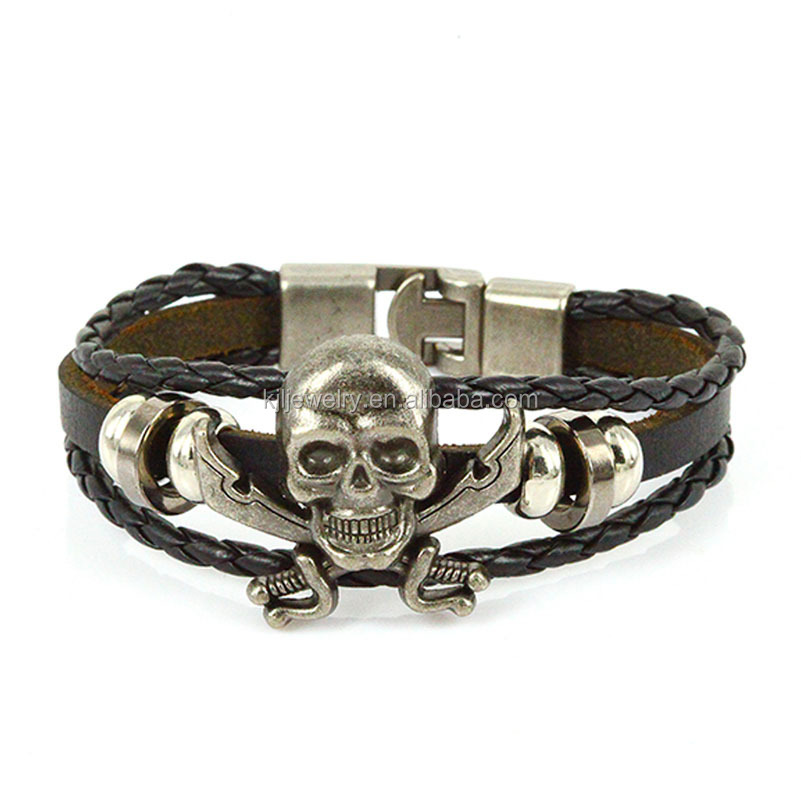 Trending Metal Leather jewelry mens skull leather bracelet,pu braided leather wrap bracelet wholesale