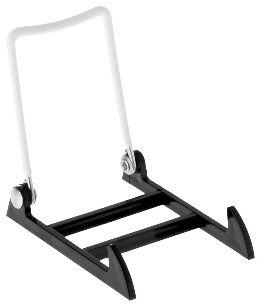 "12 Gibson Holders 1PLBW Adjustable Wire & Acrylic Easels-2.75"" W x 3.5"" H with 3"" ledge, White/Black"