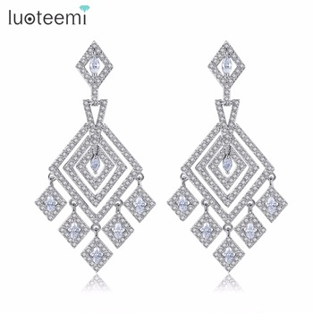 LUOTEEMI Ladies Wedding Birthday Gift Micro Cubic Zirconia Paved Luxury CZ Elegant Earrings