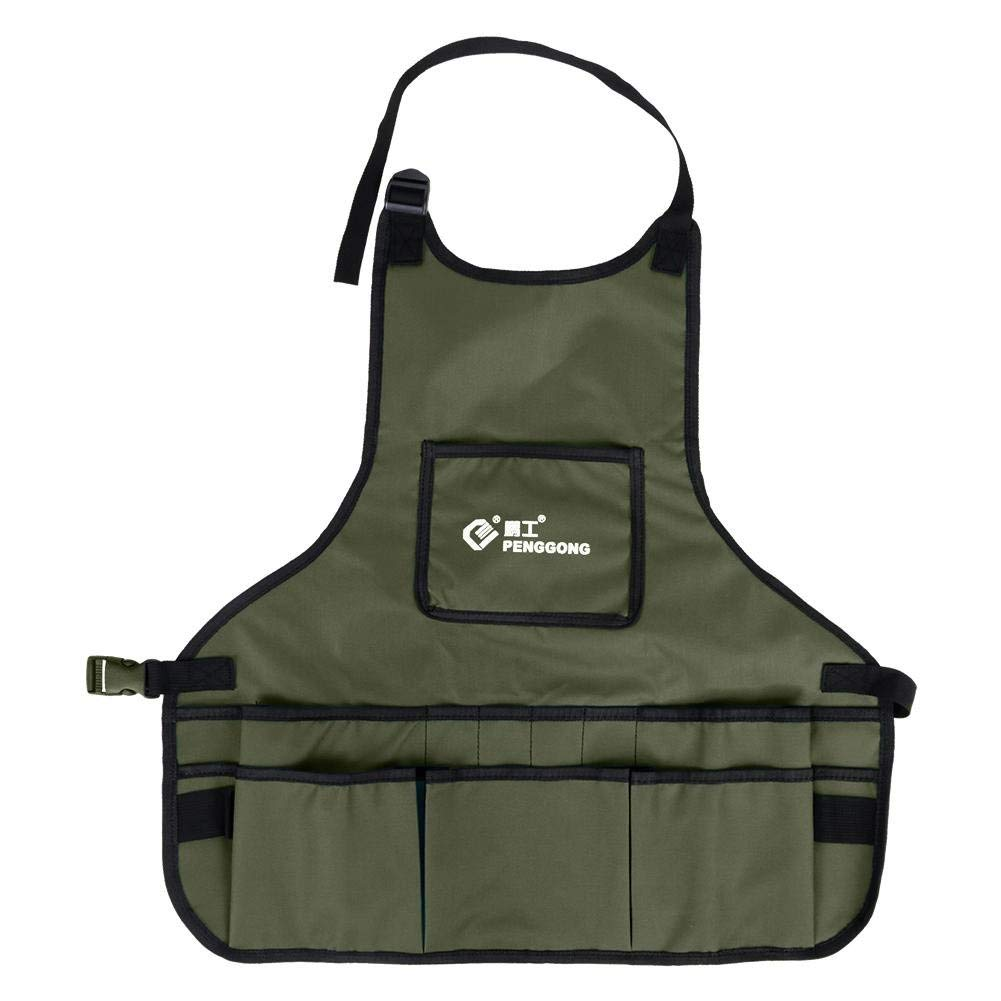 Tool Apron Professional Work Apron with 14 Tool Pockets,Fully Adjustable,Waterproof & Protective,Gardener Tool Storage Apron Holder,Convenient Work Organizer(1pc) (军绿色)