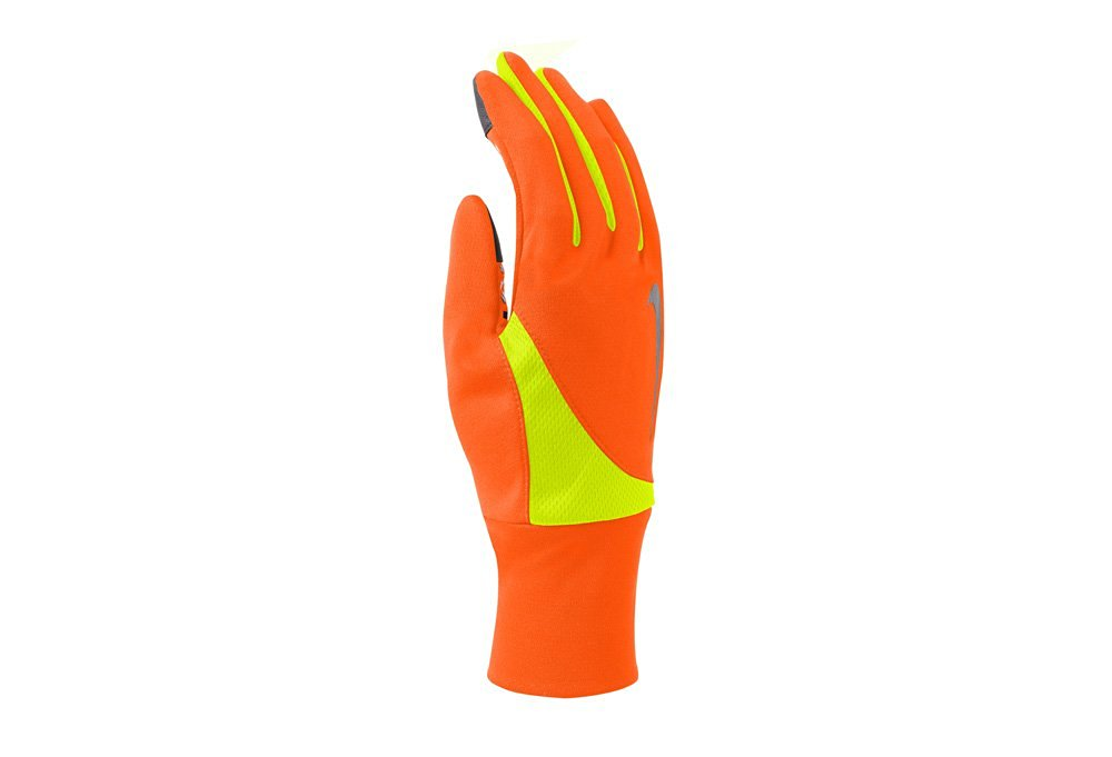 Nike Men's Dri-Fit Tailwind Run Gloves (Large, Hyper Crimson/Volt)