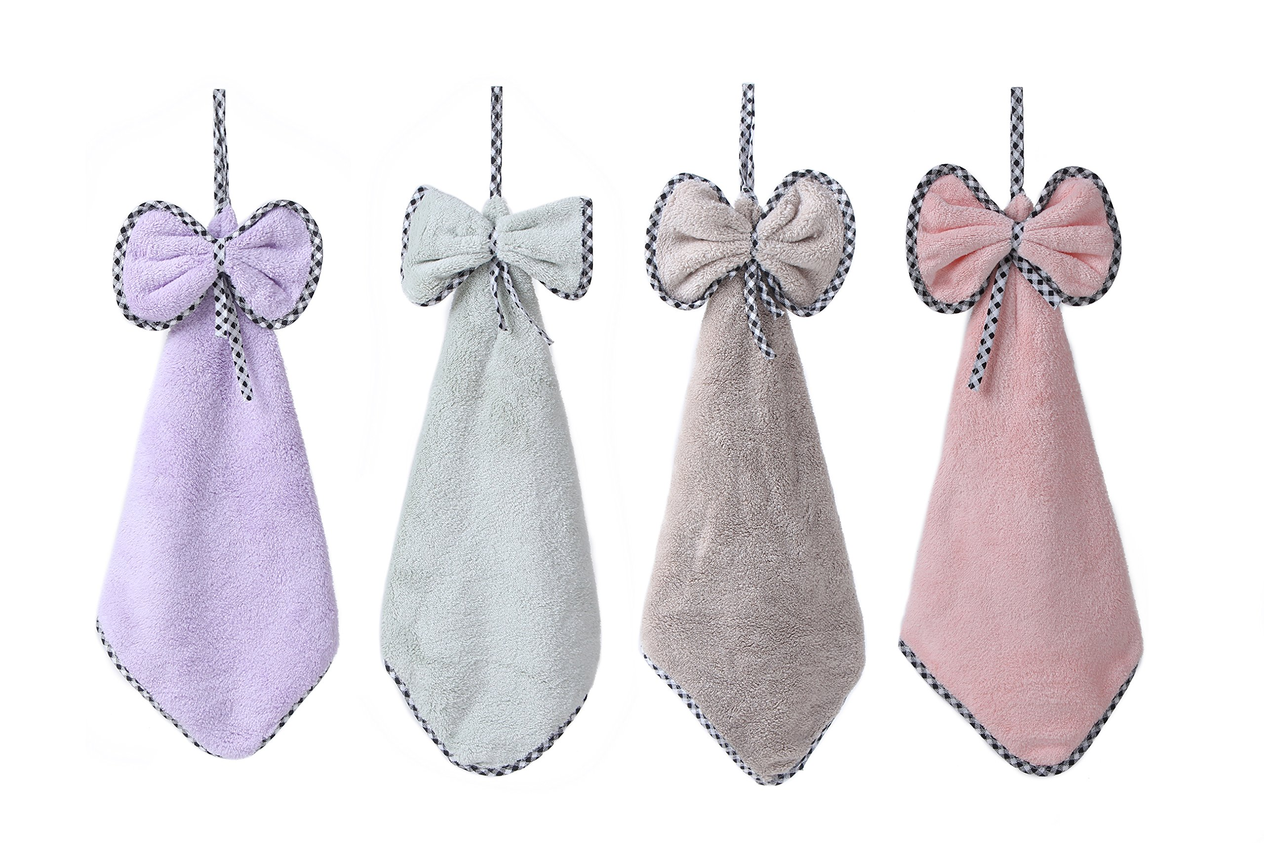 """Kitchen Towels-4 Pack, Microfiber Coral Fleece Hand Towel with Convenient Hanging Loop Machine Washable Ultra Absorbent Fast Drying 15.7""""x15.7"""" (BIG BOW TIE)"""