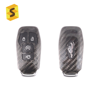 ES Y-FT-039 Real Carbon Fiber Car Remote Key Case Shell For Ford Mustang Easy Installation Protective Key Cover