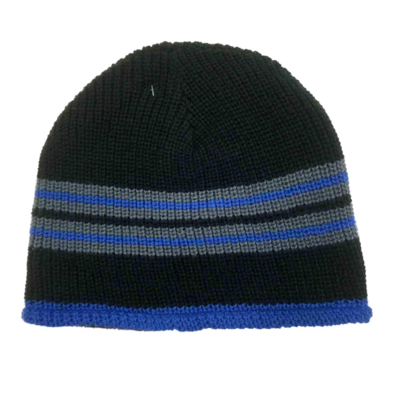 e7701d4da95 Get Quotations · Ben Berger Boys Reversible Blue Black Knit Beanie Cammo  Fleece Stocking Cap Hat