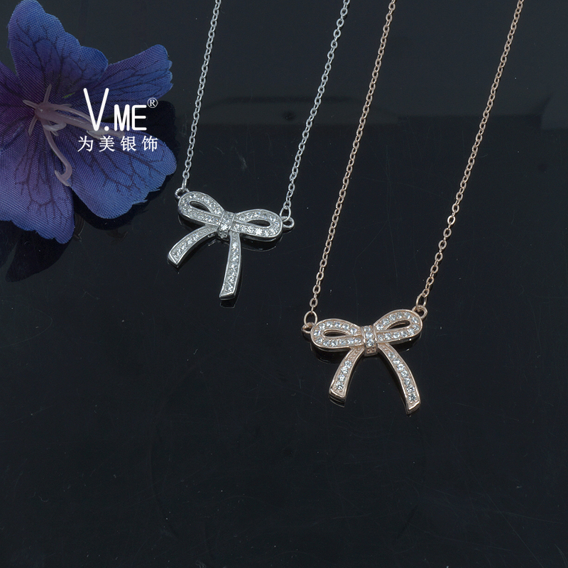 XXL189 925 silver necklace set knot design for girls summer choker style