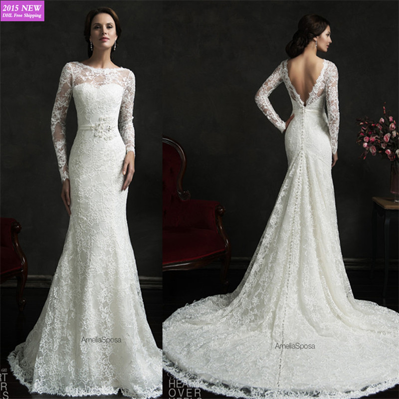 Elegant Simple Long Sleeve Wedding Dresses With Lace 2015: 2015 Elegant Long Sleeve Backless France Lace Mermaid