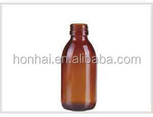 30-200ml amber glass syrup bottles with screw finish PP 28mm pilfer proof