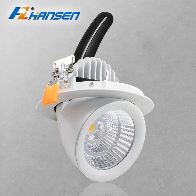 10w 20w 30w 40w Round Trim Ring 360 degree Adjustable recessed COB LED downlight gimbal Light