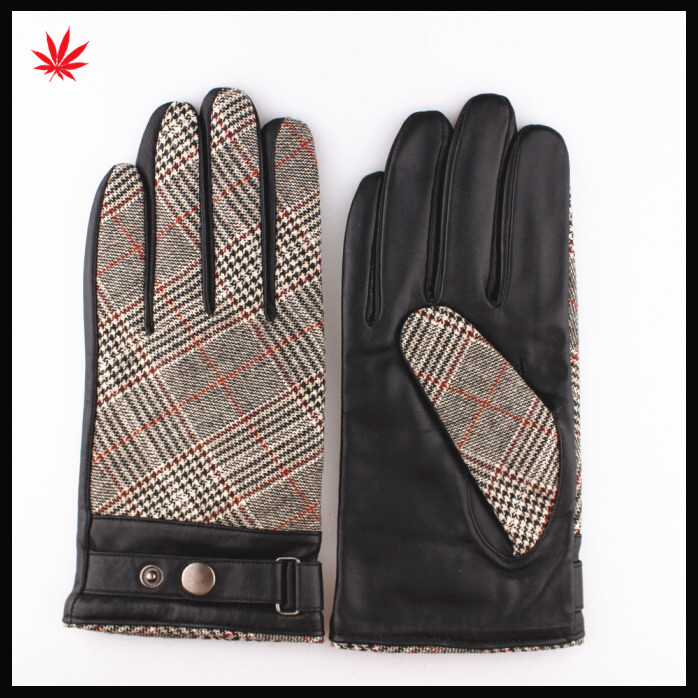 Ladies fashion knitting crochet stitching inclined stripeleather gloves