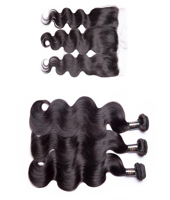 3 Bundles Sunlight unprocessed Brazilian body wave virgin <strong>hair</strong> With Lace Frontal