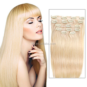 7 Pcs/Set Color 613 Beach Blonde Gold Hair Clip In Hair Extensions 14Inch 18Inch 100% Human Hair for beauty