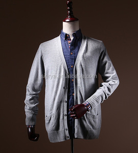 100%cotton basic men's v neck cardigan knitwear