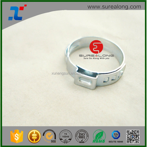 China 304 Stainless steel 8% Ni white color single ear clips/hose clamp
