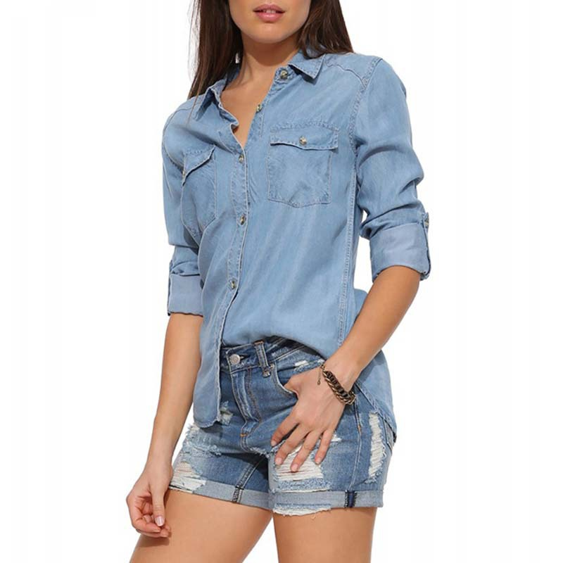 60d999f1 Get Quotations · 2015 summer new European women lapel roll sleeve denim  shirt double pocket Slim blouse blusas verano