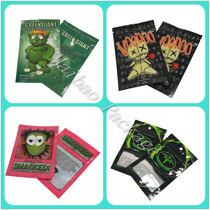 Best Selling Fantastic Custom Printing 3 Side Sealed K2 Herb Incense Smoke Spice Packaging Bag