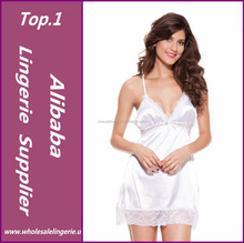2015 mujeres negro blanco rojo mini satinado de manga larga twinset V cuello Club party babydoll set sexy vestido, lencería sexy