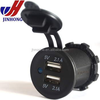 Dc 12 24v Marine Panel Mount Dual Ports 4.2a Usb Outlet