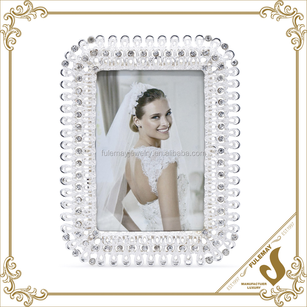 Fashion white diamond wedding love photo frame by 7 inch