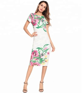 1173553d7a6 A3681 Print White Form Fitting Dress Women Round Neck Knee Length Elegant Dress  Summer Geometric Pencil