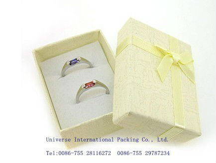 2012 hot product custom fancy yellow paper ring gift box