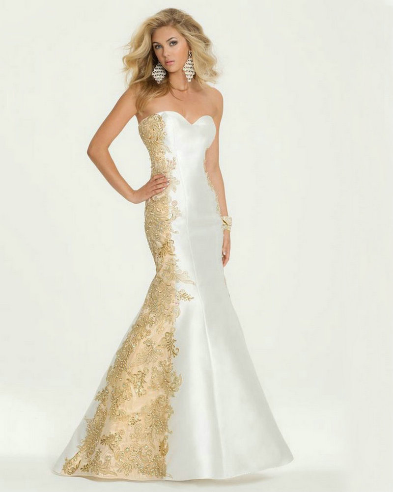 White and Gold Evening Dress Mermaid 2016 Applique Lace ...