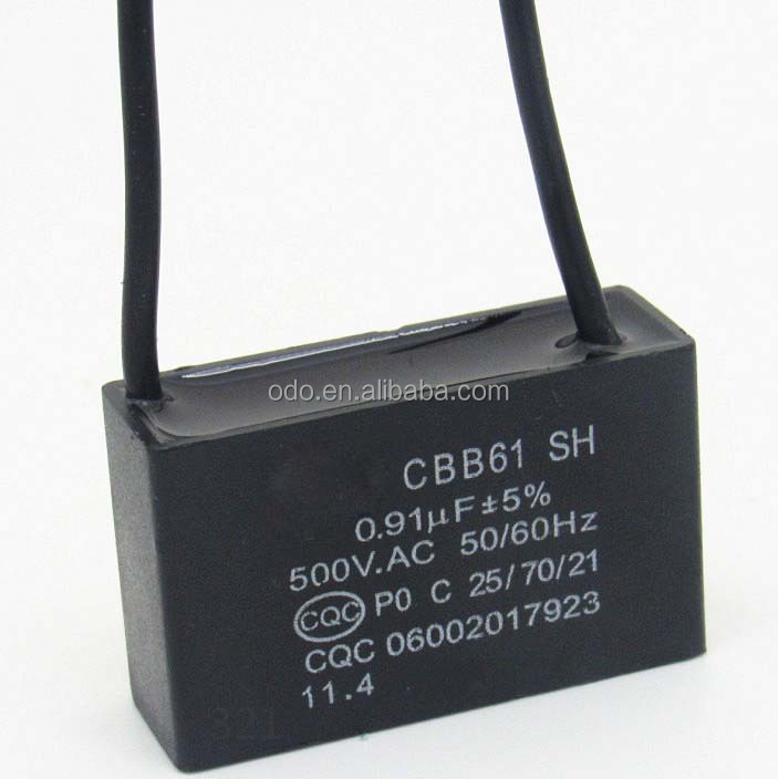 AC metallized polypropylene film capacitor CBB61 0.91UF 500VAC