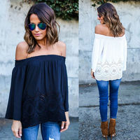 Sexy Fashion Women Summer Cotton Blouse Off Shoulder Loose Casual T Shirt Tops