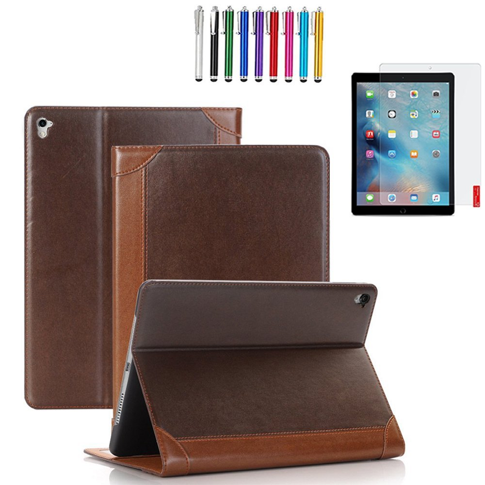 "GoldCherry iPad Pro 9.7"" Case , Card Pocket Auto Sleep/Awake [Kickstand][PU Leather Folio] For iPad Pro 9.7"" 2016 (iPad Pro 9.7"", 2nd Brown)"