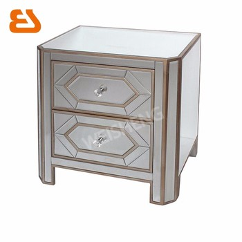 2 Drawer Mirrored Side Table With Wooden Gold Trims And Geometric Mirror  Overlayed Decoration