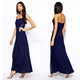 Latest dress design wholesale vestidos de fiesta off shoulder navy blue maxi evening dress