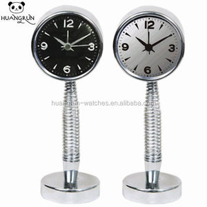Guangzhou full colour printed face desk coil metal clock spring promotion watch