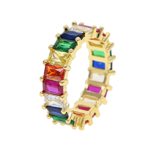 금 plated 링 fashion jewelry rainbow baguette cubic 지르코니아 luxury european women 풀 손가락 <span class=keywords><strong>보석</strong></span>