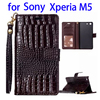 Cheap Price Flip Stand Leather Phone Case for Sony Xperia M5 with Photo Frame and Lanyard